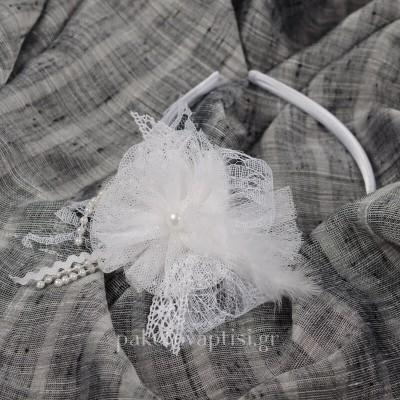 Ολόλευκη Στέκα για Κορίτσια Χειροποίητο Τούλινο Λουλούδι