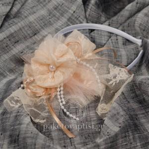 Στέκα για Κορίτσια Σομόν Δαντελένιο Χειροποίητο Λουλούδι
