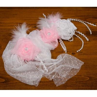 Χειροποίητη Κορδέλα Μαλλιών Λευκά και Ροζ Λουλουδάκια