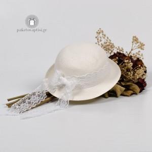 Καλοκαιρινό Πλεκτό Καπέλο Λευκή Δαντέλα
