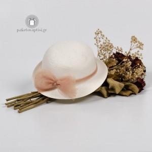 Καλοκαιρινό Πλεκτό Καπέλο Τούλι Μόκα