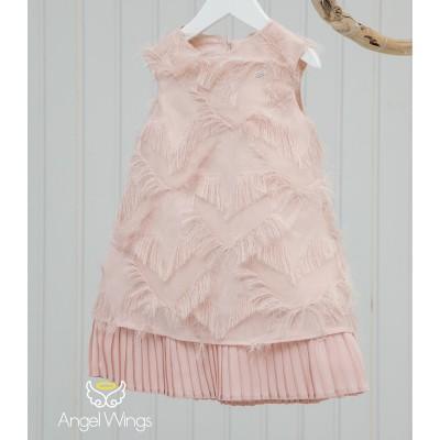 Βαπτιστικό Φόρεμα Dusty Pink Vionet | Angel Wings 074