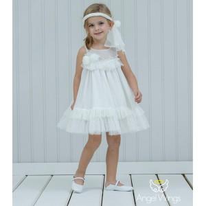 Βαπτιστικό Off White Φόρεμα Dahlia | Angel Wings 141