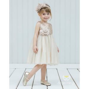 Βαπτιστικό Φόρεμα Beige Crystal | Angel Wings 148