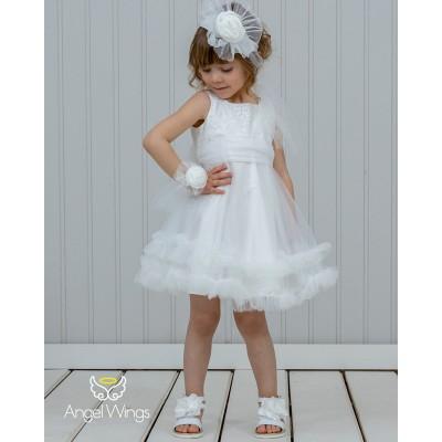 Βαπτιστικό Φόρεμα White Ennie | Angel Wings 210