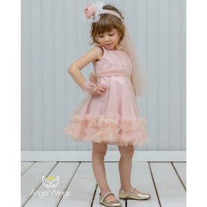 Βαπτιστικό Φόρεμα Dusty Pink Ennie | Angel Wings 210