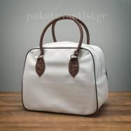 Τσάντα Βάπτισης Ορθογώνια Λευκή με Καφέ