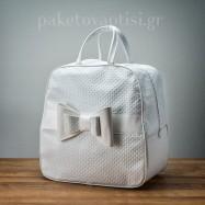 Τσάντα Βάπτισης Λευκή με Διπλό Φιόγκο