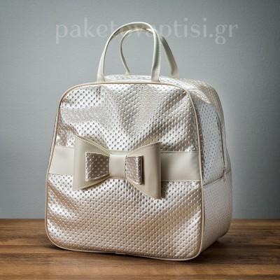 Τσάντα Βάπτισης Μπεζ με Διπλό Φιόγκο