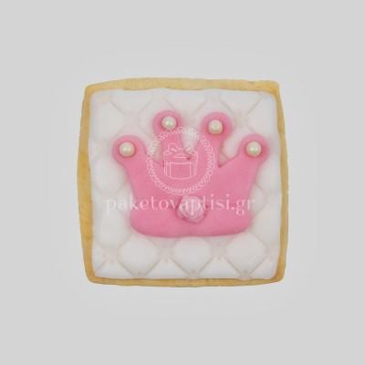 Μπισκότο Βάπτισης Τετράγωνο με Old Pink Κορώνα