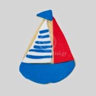 Μπισκότο Βάπτισης Μπλε Καραβάκι με Λευκές και Κόκκινες Λεπτομέρειες