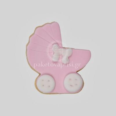 Μπισκότο Βάπτισης Ροζ Καροτσάκι με Λευκά Κουμπάκια