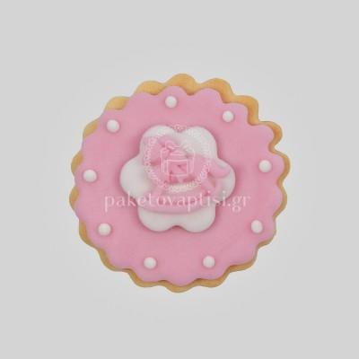 Μπισκότο Βάπτισης Ροζ Μαργαρίτα με Ροζ Αλογάκι Carousel