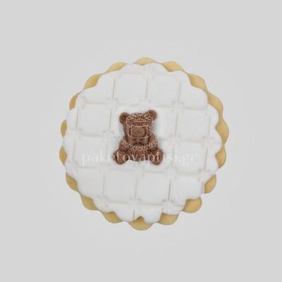 Μπισκότο Βάπτισης Λευκή Μαργαρίτα με Καφέ Αρκουδάκι