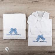 Personalised Λαδόπανο Βάπτισης με Όνομα σε Σιέλ Χρώμα
