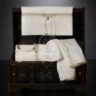 Λαδόπανο Βάπτισης Εκρού με Καραβόπανο και Διπλό Φιογκάκι με Μεταλλική Άγκυρα