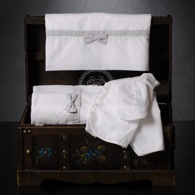 Λαδόπανο Βάπτισης Λευκό με Πουά Λευκό Γκρι Ύφασμα και Φιογκάκι