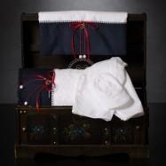 Λαδόπανο Βάπτισης Λευκό Μπλε με Κόκκινα Φιογκάκια και Μεταλλική Άγκυρα