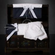 Λαδόπανο Βάπτισης Λευκό Μπλε με Φιόγκο και Μεταλλική Άγκυρα