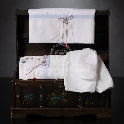 Λαδόπανο Βάπτισης Λευκό Σιέλ με Φιογκάκια και Μεταλλική Άγκυρα