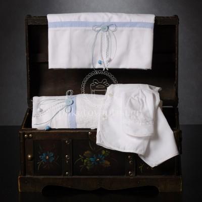 Λαδόπανο Βάπτισης Λευκό Ριγέ Σιέλ με Φιογκάκια και Κουμπάκι