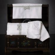 Λαδόπανο Βάπτισης Λευκό Καρό Σιέλ με Μπεζ και Φιογκάκι
