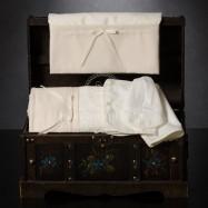 Λαδόπανο Βάπτισης Εκρού Φιογκάκι Γκρο Κορδελίτσα