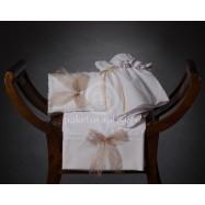 Λαδόπανο Βάπτισης Λευκό με Καφέ Δαντελένιο Φιογκάκι