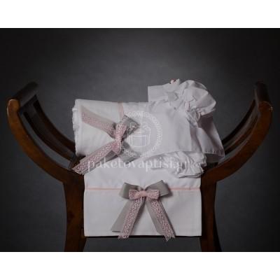 Λαδόπανο Βάπτισης Λευκό με Διπλό Φιόγκο Γκρι Γκρο Κορδέλα και Ροζ Δαντέλα