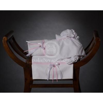 Λαδόπανο Βάπτισης Λευκό με Ροζ Πουά Σατέν Φιογκάκι και Μεταλλική Κορώνα