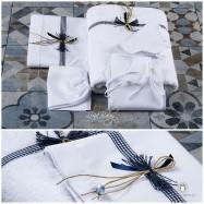 Λαδόπανο Βάπτισης Καρό Μπλε Φιογκάκι | Lina Baby 155