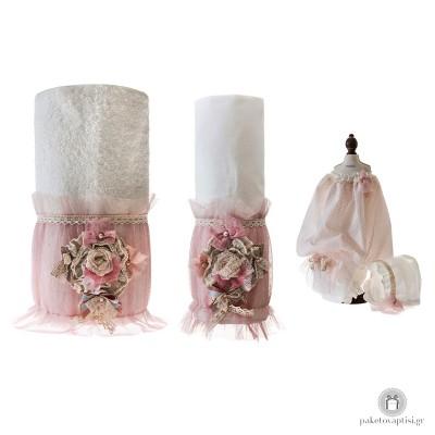 Σετ Λαδόπανα Βάπτισης Χειροποίητο Λουλούδι   My Little Kiss 6043