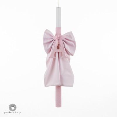 Personalised Λαμπάδα Βάπτισης με Ξύλινο Ροζ Μονόγραμμα Επενδυμένο με Ύφασμα