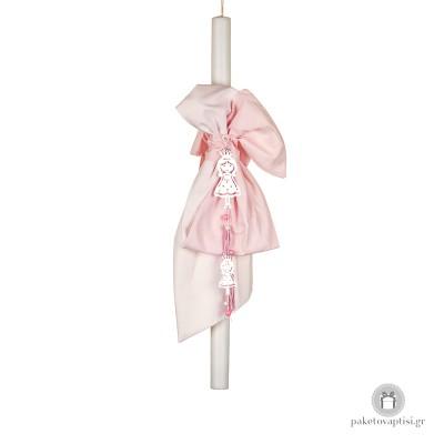 Λαμπάδα Βάπτισης για Κορίτσι Λευκός Ροζ Φιόγκος Μεταλλικές Πριγκίπισσες