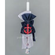 Λαμπάδα Βάπτισης για Αγόρι Λευκός Μπλε Φιόγκος Κόκκινη Άγκυρα