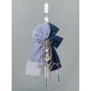 Λαμπάδα Βάπτισης για Αγόρι Μπλε Ριγέ Φιόγκοι Ξύλινη Άγκυρα