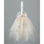 Λαμπάδα Βάπτισης για Κορίτσι Εκρού Δαντελένιος Φιόγκος Τούλινα Λουλούδια και Ξύλινο Μονόγραμμα