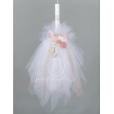 Λαμπάδα Βάπτισης για Κορίτσι με Χειροποίητα Λουλούδια και Πουά Υφασμάτινες Καρδούλες
