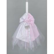 Λαμπάδα Βάπτισης για Κορίτσι Λευκό με Ροζ Ύφασμα και Μεταλλική Κορώνα