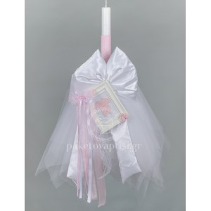 Λαμπάδα Βάπτισης για Κορίτσι Λευκό Καδράκι με Πλεκτό Ροζ Φορμάκι