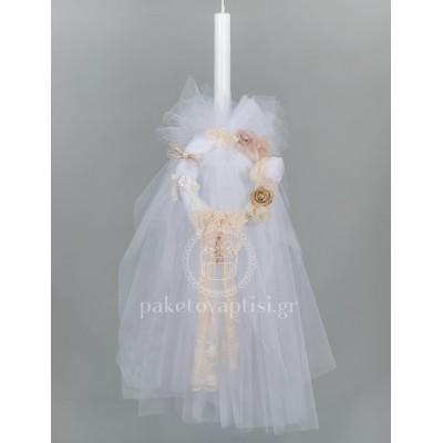 Λαμπάδα Βάπτισης για Κορίτσι Λευκό Μπαμπού Στεφανάκι με Χειροποίητα Λουλούδια