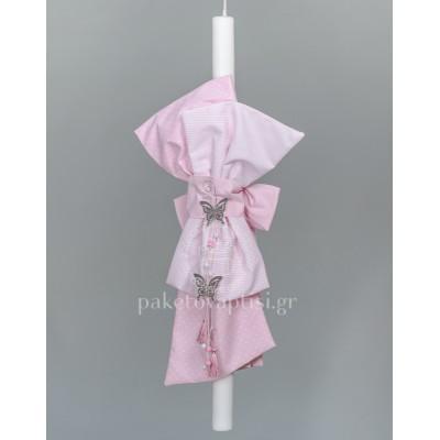 Λαμπάδα Βάπτισης για Κορίτσι Ροζ Πουά Ριγέ Φιόγκος Μεταλλικές Πεταλούδες