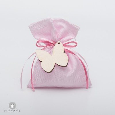 Μπομπονιέρα Βάπτισης Βαμβακερό Ροζ Πουγκί με Ξύλινη Πεταλούδα