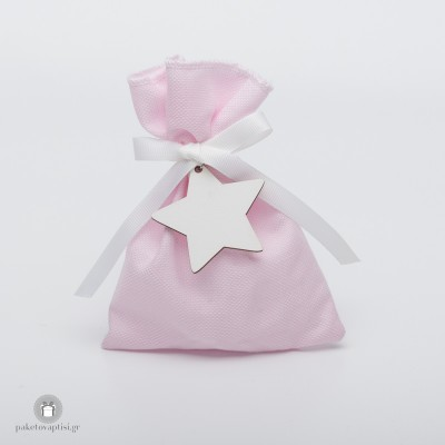 Μπομπονιέρα Βάπτισης Βαμβακερό Ροζ Πουγκί με Ξύλινο Λευκό Αστεράκι