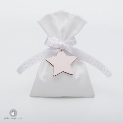Μπομπονιέρα Βάπτισης Βαμβακερό Λευκό Πουγκί με Πουά Κορδέλα και Ξύλινο Ροζ Αστεράκι