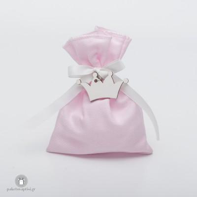 Μπομπονιέρα Βάπτισης Βαμβακερό Ροζ Πουγκί με Ξύλινη Λευκή Κορώνα