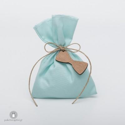 Μπομπονιέρα Βάπτισης Βαμβακερό Tiffany Blue Πουγκί με Ξύλινο Παπιγιόν
