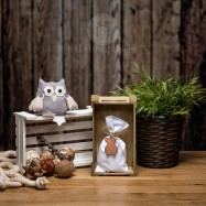 Mπομπονιέρα Βάπτισης Λευκό Βαμβακερό Πουγκί με Ξύλινο Αρκουδάκι
