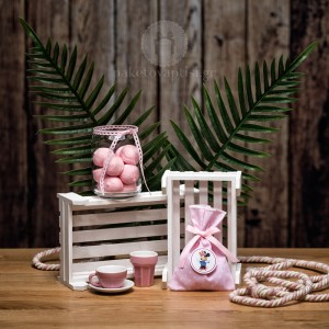 Mπομπονιέρα Βάπτισης Βαμβακερό Πουά Πουγκί με Κονκάρδα Minnie Mouse