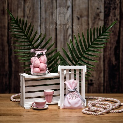 Mπομπονιέρα Βάπτισης Ροζ Βαμβακερό Πουγκί με Μεταλλικό Λουλούδι